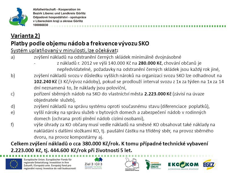 Varianta 2) Platby podle objemu nádob a frekvence vývozu SKO Systém uplatňovaný v minulosti, lze očekávat: a)zvýšení nákladů na odstranění černých skládek minimálně dvojnásobné -z nákladů r.