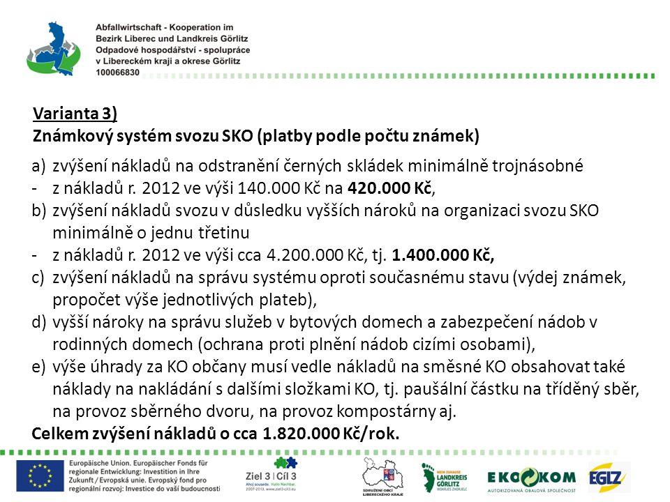 Varianta 3) Známkový systém svozu SKO (platby podle počtu známek) a)zvýšení nákladů na odstranění černých skládek minimálně trojnásobné -z nákladů r.