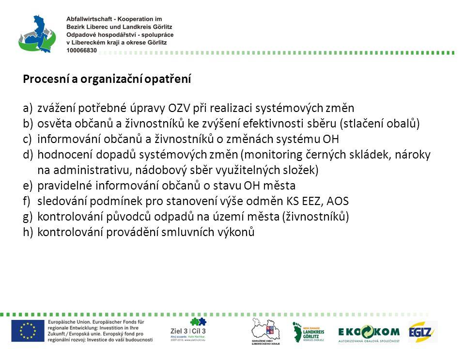 Procesní a organizační opatření a)zvážení potřebné úpravy OZV při realizaci systémových změn b)osvěta občanů a živnostníků ke zvýšení efektivnosti sběru (stlačení obalů) c)informování občanů a živnostníků o změnách systému OH d)hodnocení dopadů systémových změn (monitoring černých skládek, nároky na administrativu, nádobový sběr využitelných složek) e)pravidelné informování občanů o stavu OH města f)sledování podmínek pro stanovení výše odměn KS EEZ, AOS g)kontrolování původců odpadů na území města (živnostníků) h)kontrolování provádění smluvních výkonů