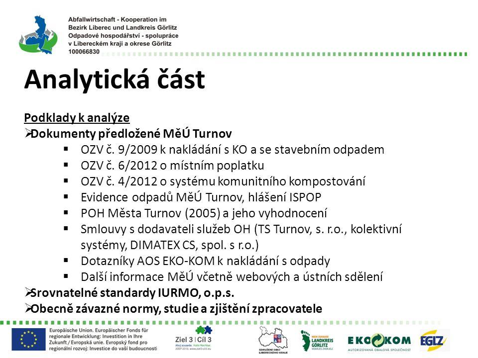 Analytická část Podklady k analýze  Dokumenty předložené MěÚ Turnov  OZV č. 9/2009 k nakládání s KO a se stavebním odpadem  OZV č. 6/2012 o místním