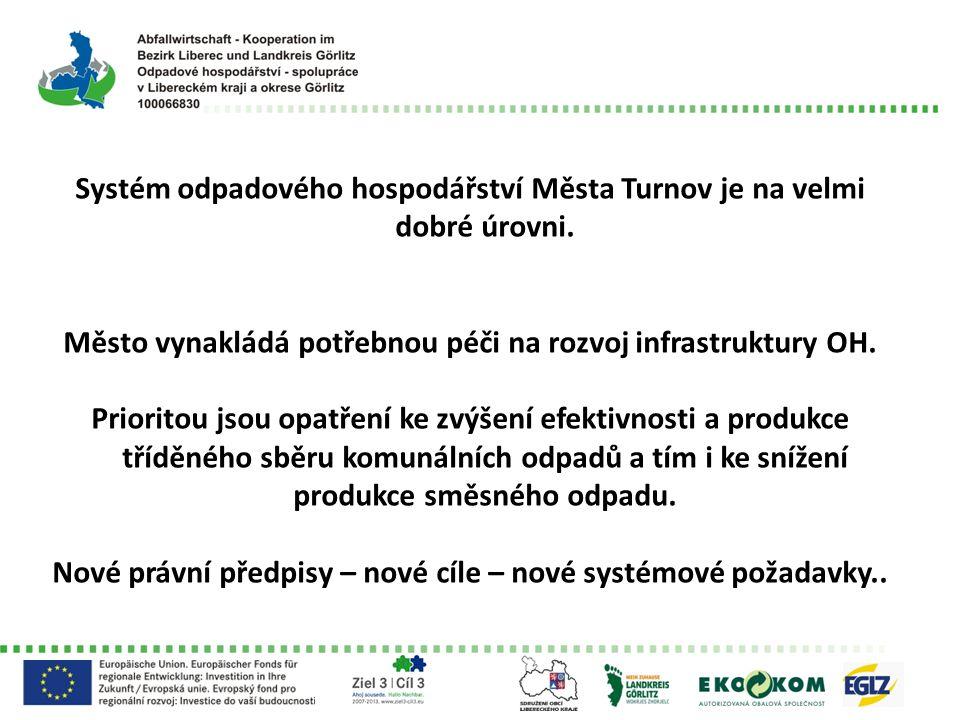Systém odpadového hospodářství Města Turnov je na velmi dobré úrovni. Město vynakládá potřebnou péči na rozvoj infrastruktury OH. Prioritou jsou opatř