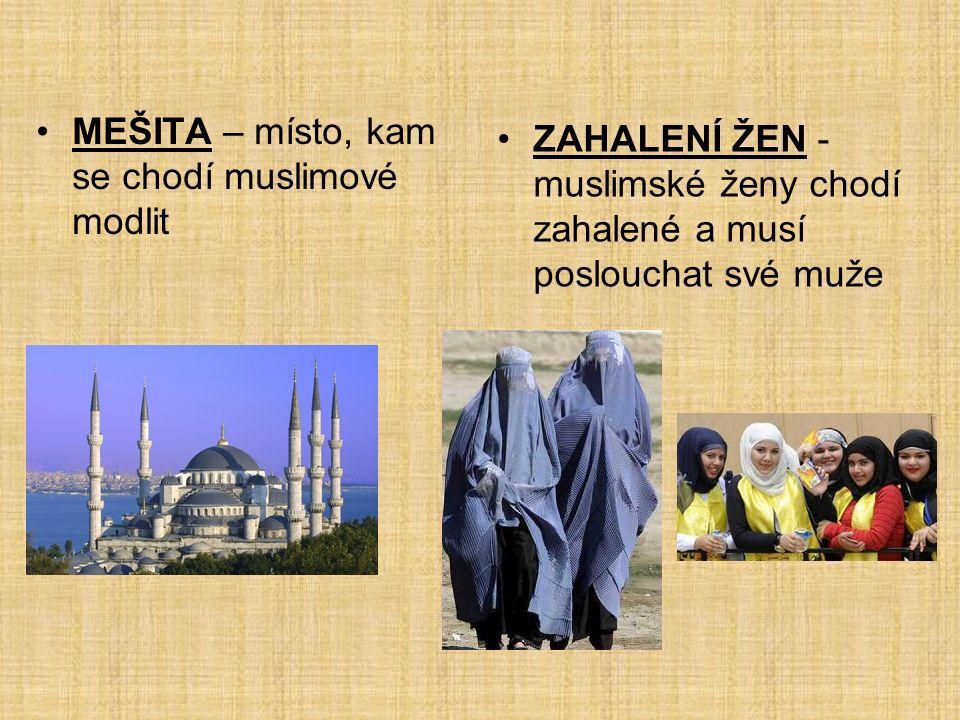 MEŠITA – místo, kam se chodí muslimové modlit ZAHALENÍ ŽEN - muslimské ženy chodí zahalené a musí poslouchat své muže