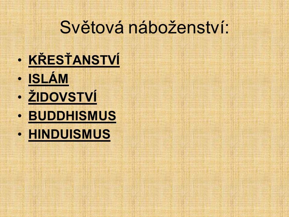 Světová náboženství: KŘESŤANSTVÍ ISLÁM ŽIDOVSTVÍ BUDDHISMUS HINDUISMUS