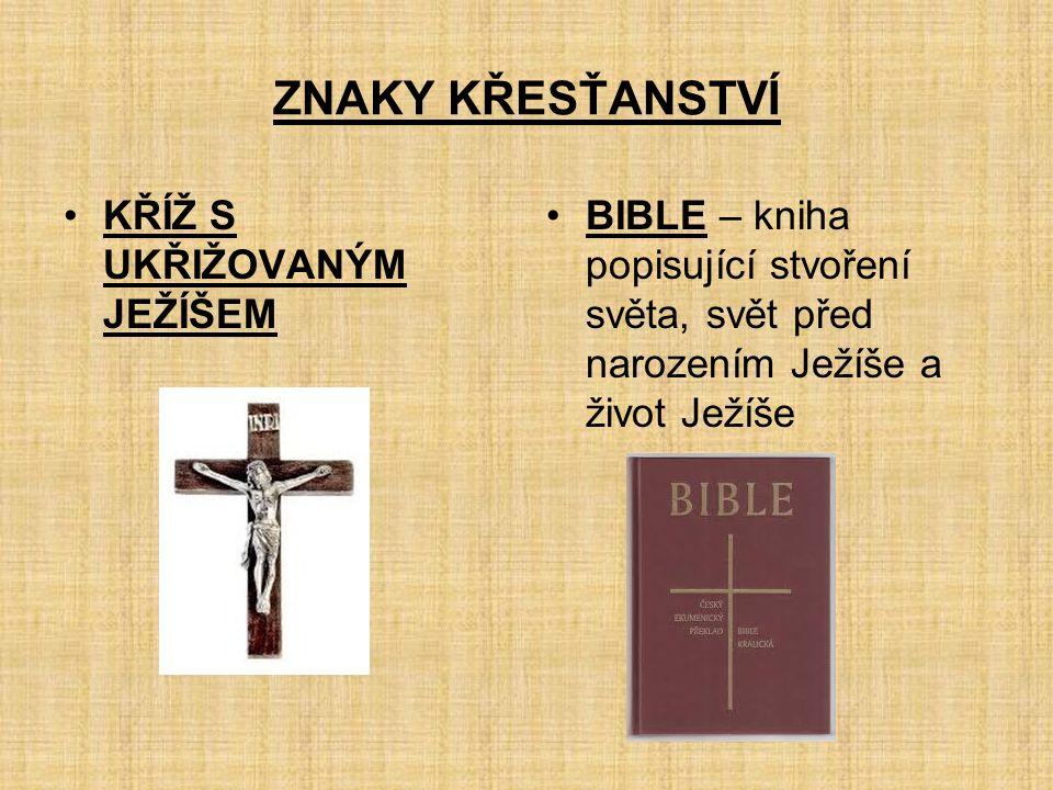 ZNAKY KŘESŤANSTVÍ KŘÍŽ S UKŘIŽOVANÝM JEŽÍŠEM BIBLE – kniha popisující stvoření světa, svět před narozením Ježíše a život Ježíše