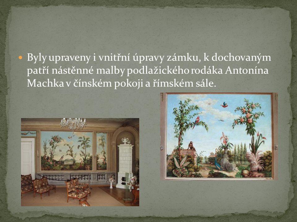 Byly upraveny i vnitřní úpravy zámku, k dochovaným patří nástěnné malby podlažického rodáka Antonína Machka v čínském pokoji a římském sále.