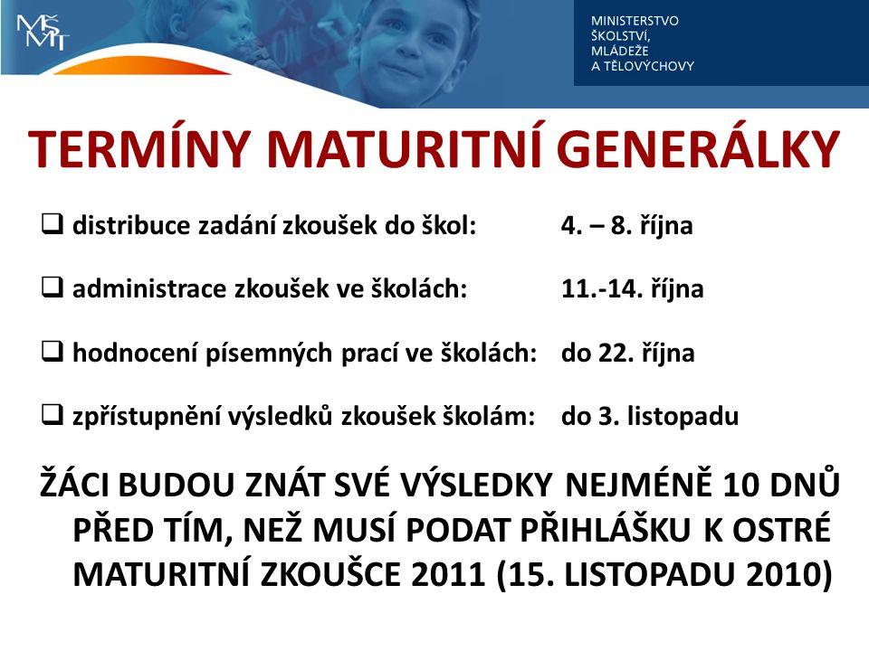 TERMÍNY MATURITNÍ GENERÁLKY  distribuce zadání zkoušek do škol: 4.