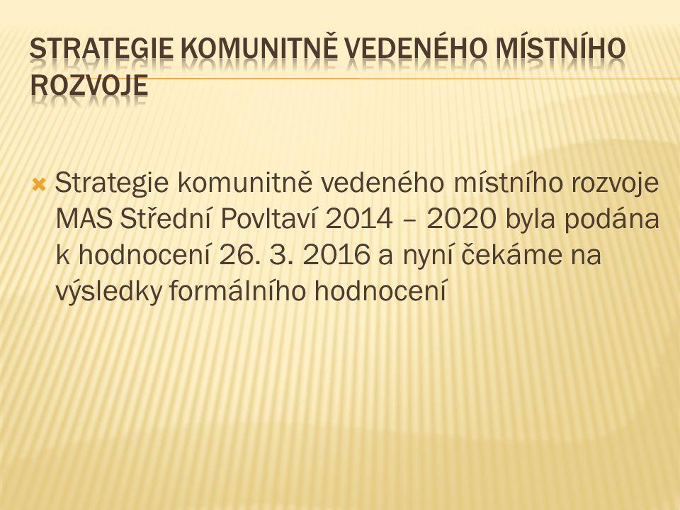  Strategie komunitně vedeného místního rozvoje MAS Střední Povltaví 2014 – 2020 byla podána k hodnocení 26.
