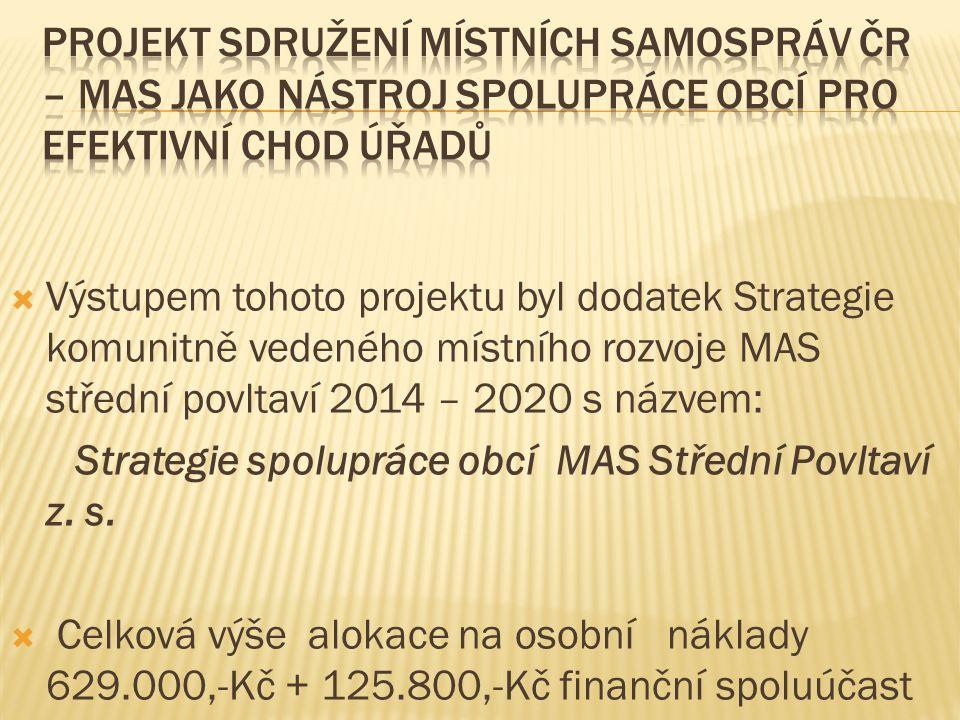  Výstupem tohoto projektu byl dodatek Strategie komunitně vedeného místního rozvoje MAS střední povltaví 2014 – 2020 s názvem: Strategie spolupráce obcí MAS Střední Povltaví z.