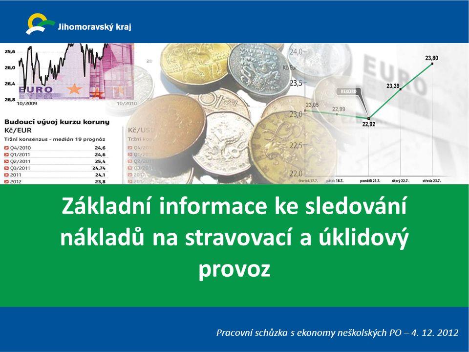 Základní informace ke sledování nákladů na stravovací a úklidový provoz Pracovní schůzka s ekonomy neškolských PO – 4. 12. 2012