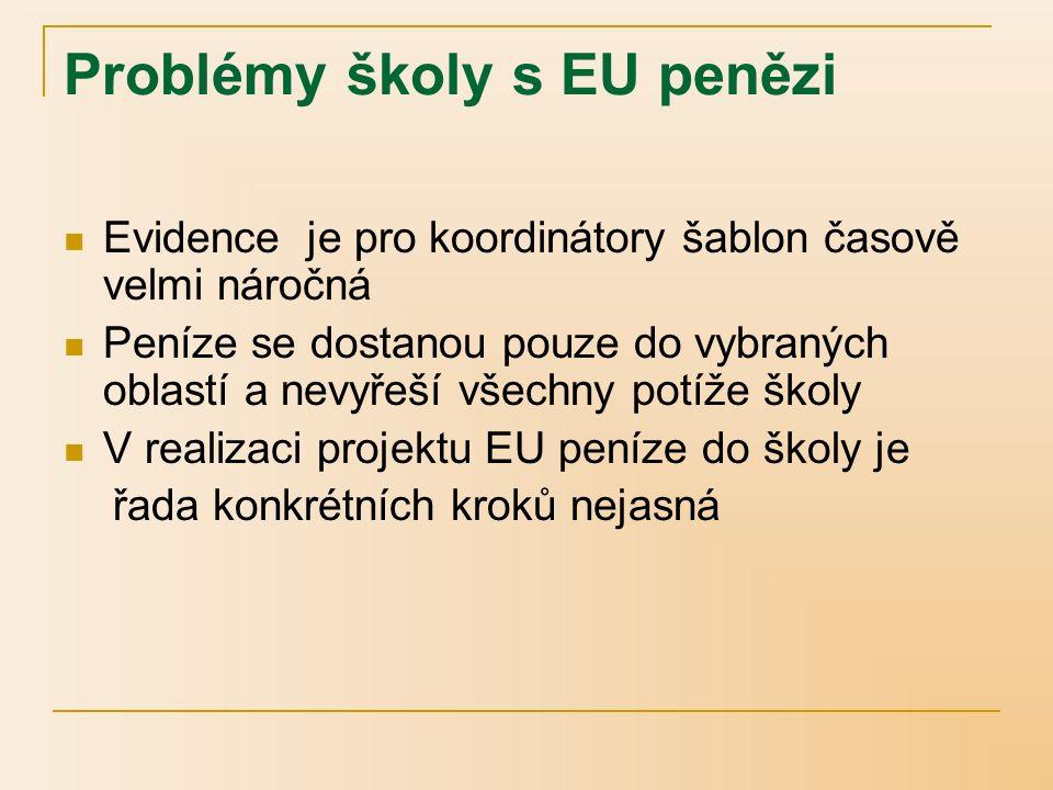 Problémy školy s EU penězi Evidence je pro koordinátory šablon časově velmi náročná Peníze se dostanou pouze do vybraných oblastí a nevyřeší všechny potíže školy V realizaci projektu EU peníze do školy je řada konkrétních kroků nejasná