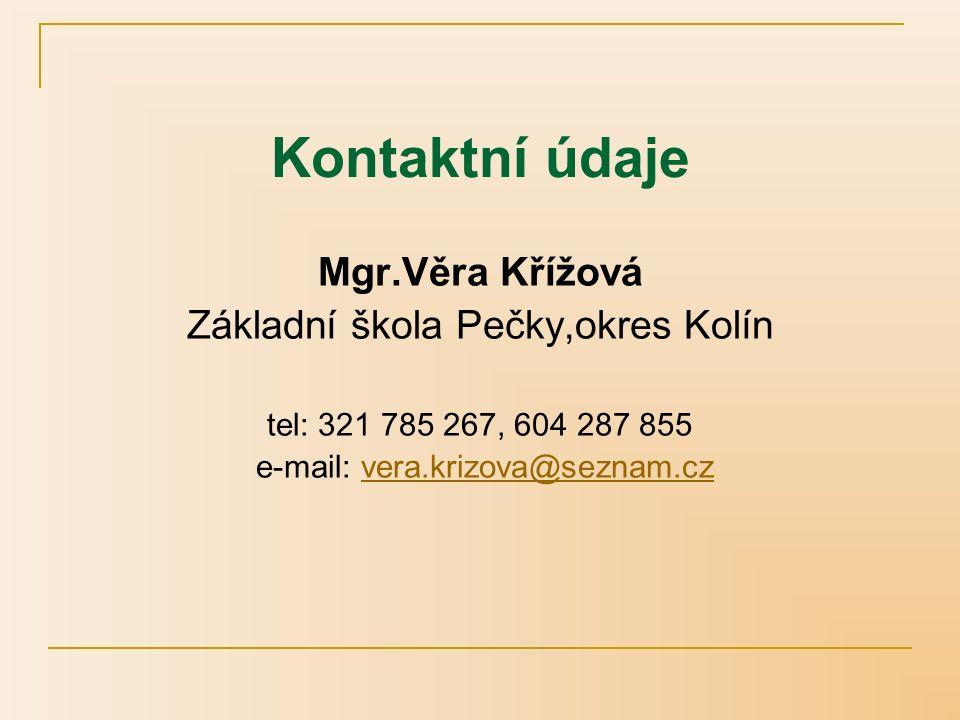 Kontaktní údaje Mgr.Věra Křížová Základní škola Pečky,okres Kolín tel: 321 785 267, 604 287 855 e-mail: vera.krizova@seznam.czvera.krizova@seznam.cz