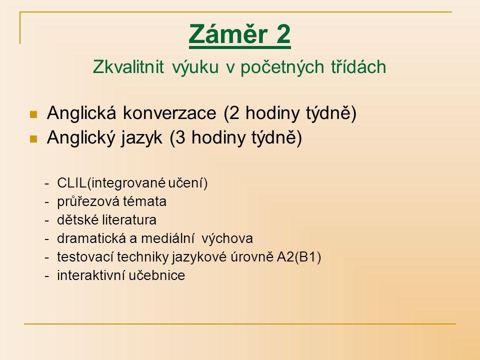 Záměr 2 Zkvalitnit výuku v početných třídách Anglická konverzace (2 hodiny týdně) Anglický jazyk (3 hodiny týdně) - CLIL(integrované učení) - průřezová témata - dětské literatura - dramatická a mediální výchova - testovací techniky jazykové úrovně A2(B1) - interaktivní učebnice