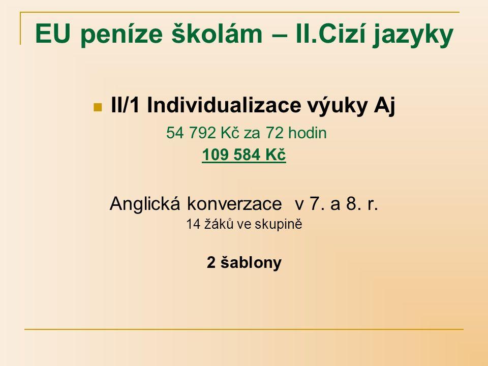 EU peníze školám – II.Cizí jazyky II/1 Individualizace výuky Aj 54 792 Kč za 72 hodin 164 276 Kč Anglický jazyk v 7.a 8.r.