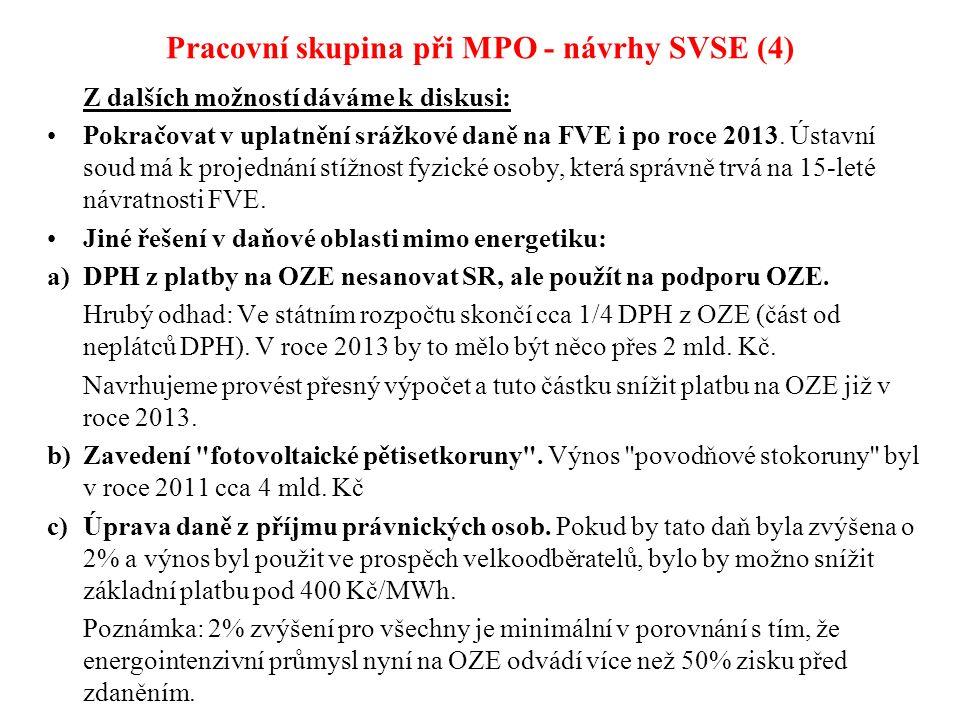 Pracovní skupina při MPO - návrhy SVSE (4) Z dalších možností dáváme k diskusi: Pokračovat v uplatnění srážkové daně na FVE i po roce 2013.