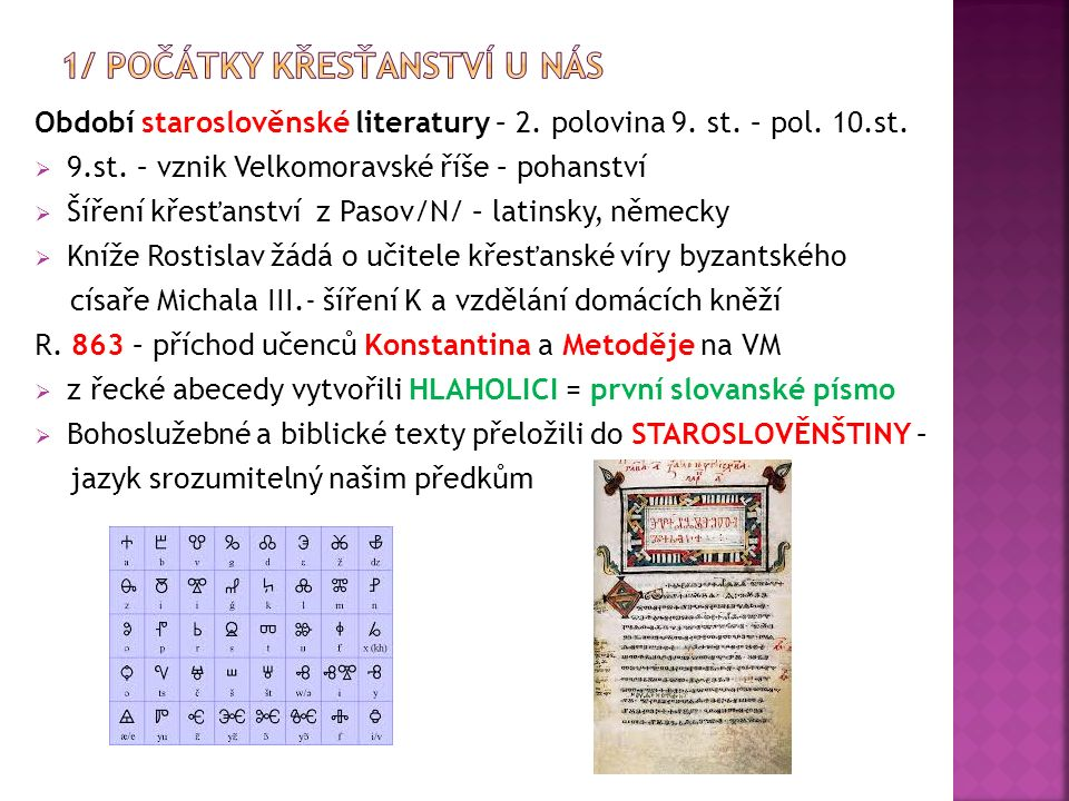 Písemné památky – psané STAROSLOVĚNSKY /do r.