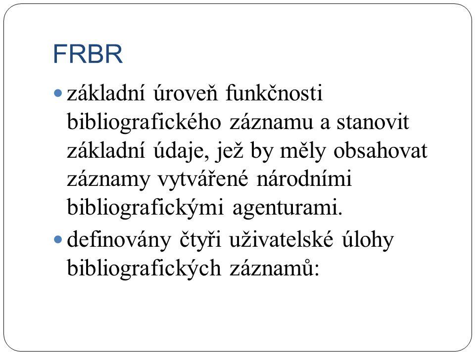 FRBR základní úroveň funkčnosti bibliografického záznamu a stanovit základní údaje, jež by měly obsahovat záznamy vytvářené národními bibliografickými agenturami.