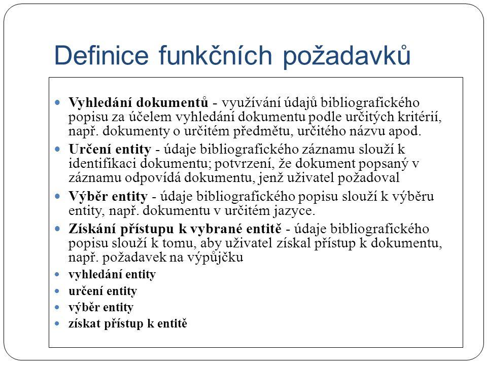 Definice funkčních požadavků Vyhledání dokumentů - využívání údajů bibliografického popisu za účelem vyhledání dokumentu podle určitých kritérií, např.