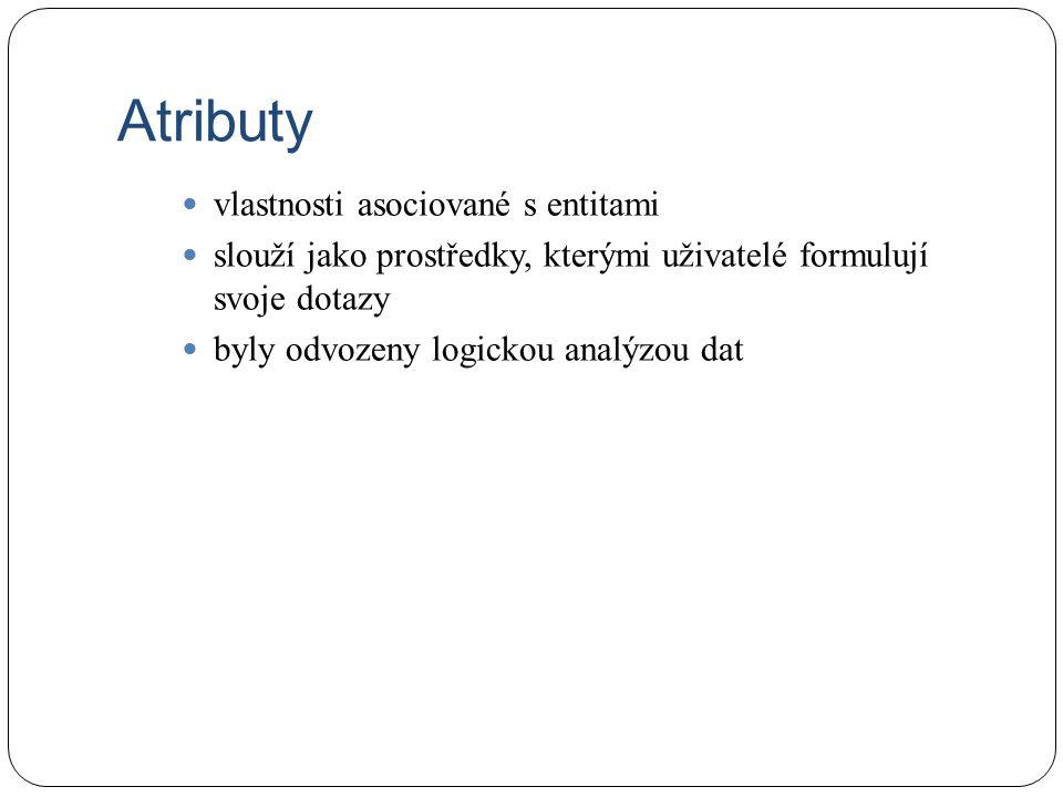Atributy vlastnosti asociované s entitami slouží jako prostředky, kterými uživatelé formulují svoje dotazy byly odvozeny logickou analýzou dat