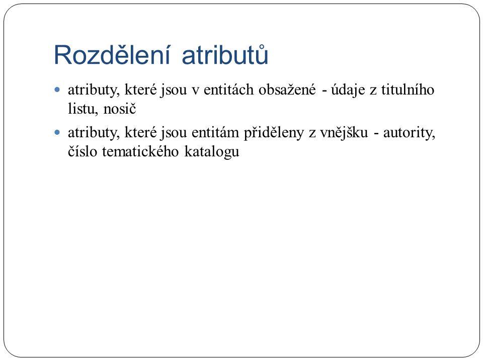 Rozdělení atributů atributy, které jsou v entitách obsažené - údaje z titulního listu, nosič atributy, které jsou entitám přiděleny z vnějšku - autority, číslo tematického katalogu