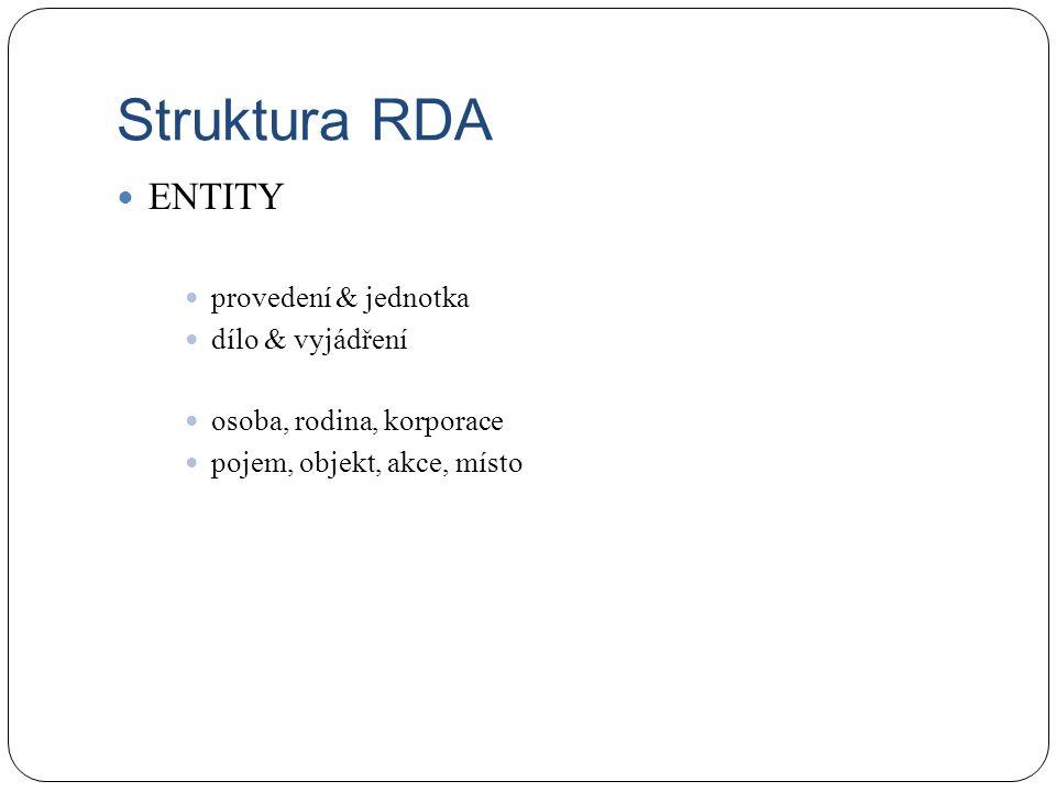 Struktura RDA ENTITY provedení & jednotka dílo & vyjádření osoba, rodina, korporace pojem, objekt, akce, místo