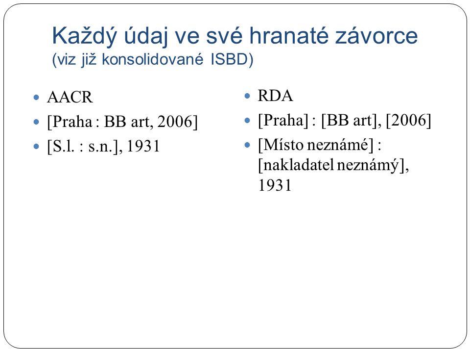 Každý údaj ve své hranaté závorce (viz již konsolidované ISBD) AACR [Praha : BB art, 2006] [S.l.