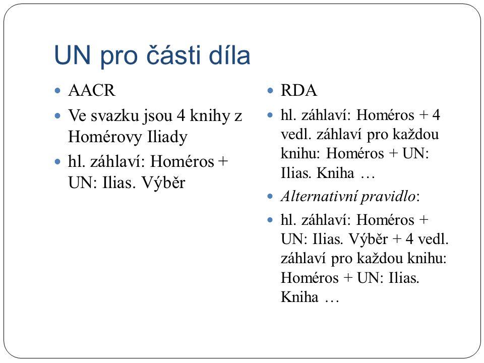 UN pro části díla AACR Ve svazku jsou 4 knihy z Homérovy Iliady hl.