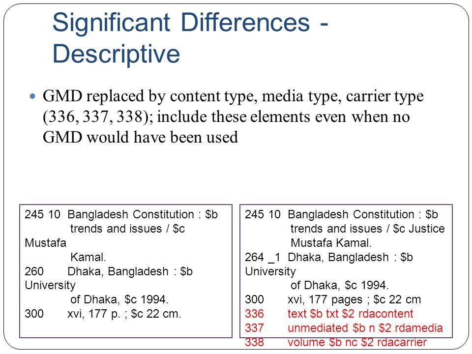 Significant Differences - Descriptive GMD replaced by content type, media type, carrier type (336, 337, 338); include these elements even when no GMD would have been used 245 10 Bangladesh Constitution : $b trends and issues / $c Mustafa Kamal.