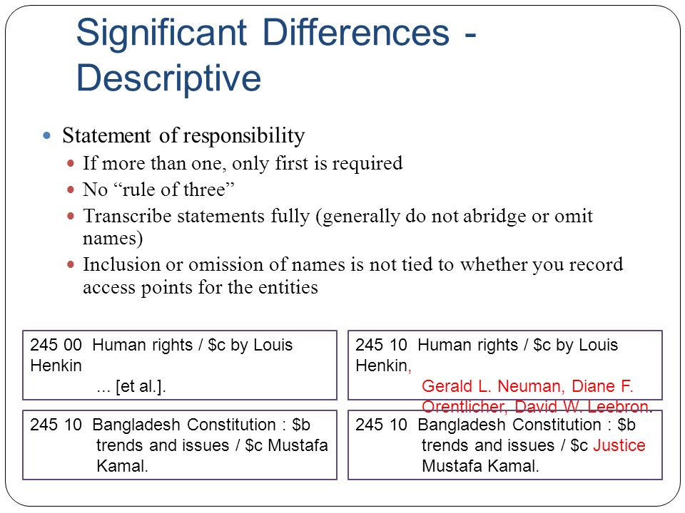 "Significant Differences - Descriptive Statement of responsibility If more than one, only first is required No ""rule of three"" Transcribe statements fu"