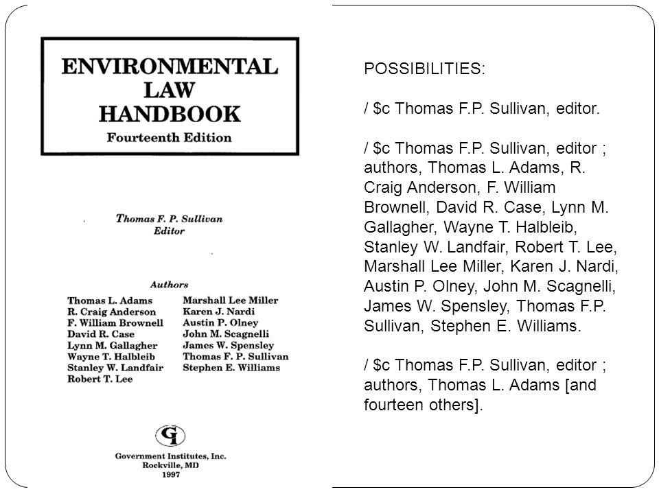 POSSIBILITIES: / $c Thomas F.P. Sullivan, editor.