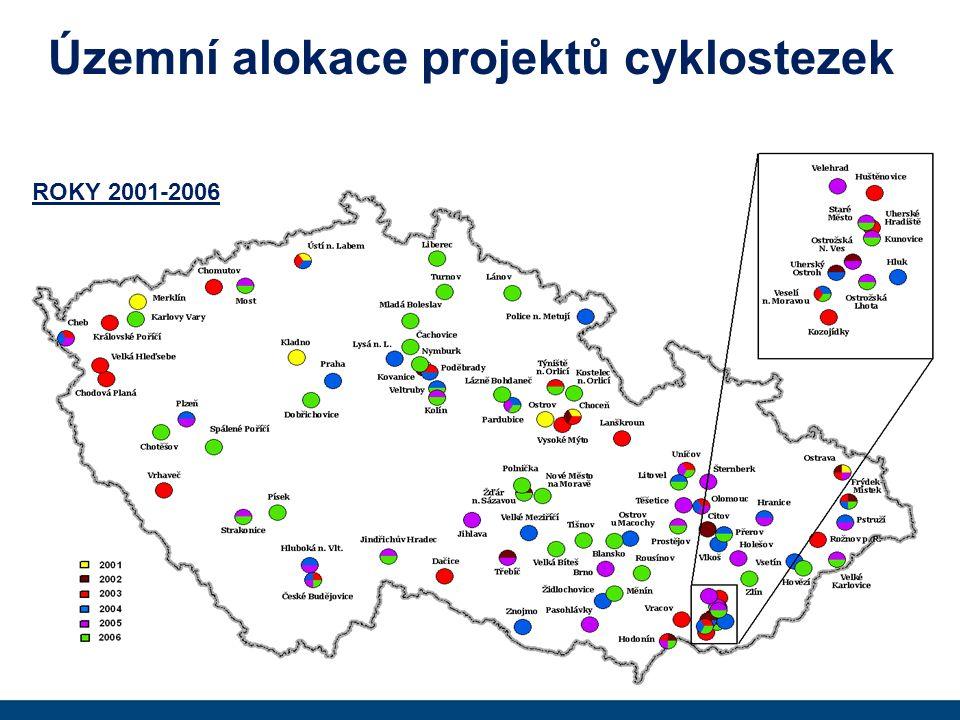Územní alokace projektů cyklostezek ROKY 2001-2006