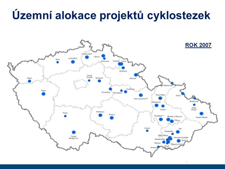 Územní alokace projektů cyklostezek ROK 2007