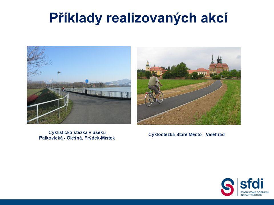Příklady realizovaných akcí Cyklistická stezka v úseku Palkovická - Olešná, Frýdek-Místek Cyklostezka Staré Město - Velehrad