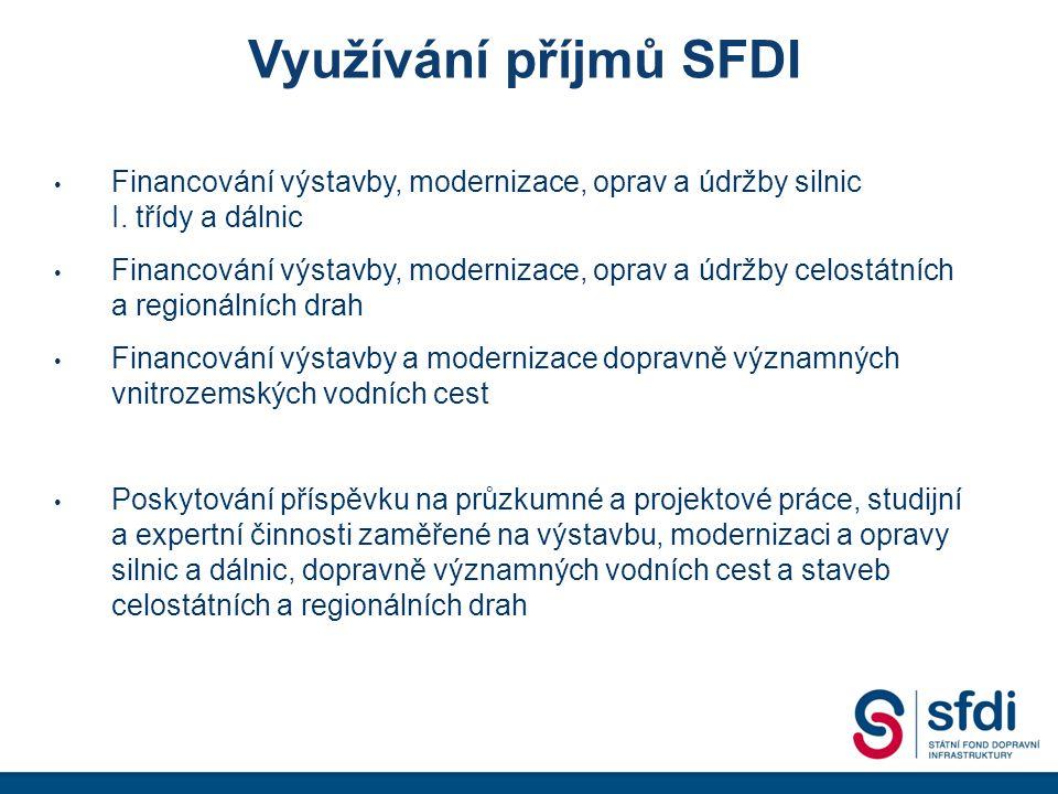 Využívání příjmů SFDI Poskytování příspěvků pro naplňování programů zaměřených ke zvýšení bezpečnosti dopravy a jejího zpřístupňování osobám s omezenou schopností pohybu a orientace Poskytování příspěvků na výstavbu a údržbu cyklistických stezek Financování zavedení a provozování systému elektronického mýta Úhrada závazků z koncesních smluv Hrazení nákladů na činnost SFDI Úhrada splátek úvěrů a úroků z úvěrů a dalších výdajů spojených se zajištěním dluhové služby
