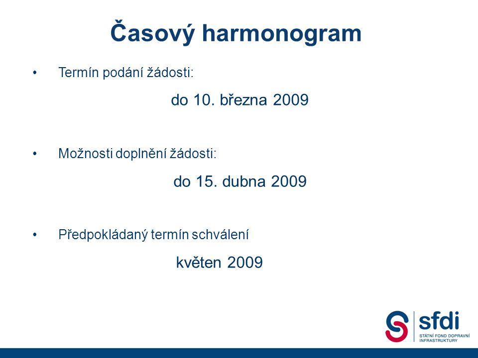 Termín podání žádosti: do 10. března 2009 Možnosti doplnění žádosti: do 15.