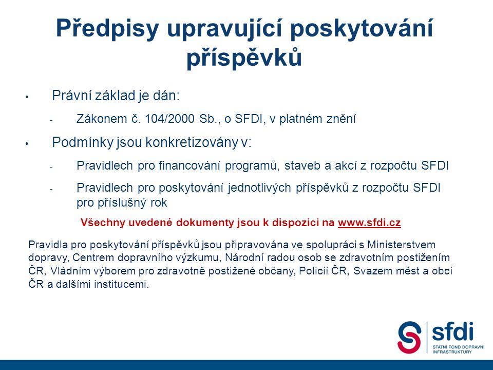 Předpisy upravující poskytování příspěvků Právní základ je dán: - Zákonem č.