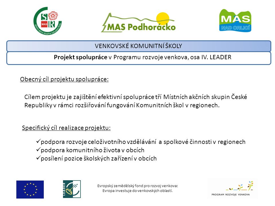 Evropský zemědělský fond pro rozvoj venkova: Evropa investuje do venkovských oblastí. Projekt spolupráce v Programu rozvoje venkova, osa IV. LEADER VE