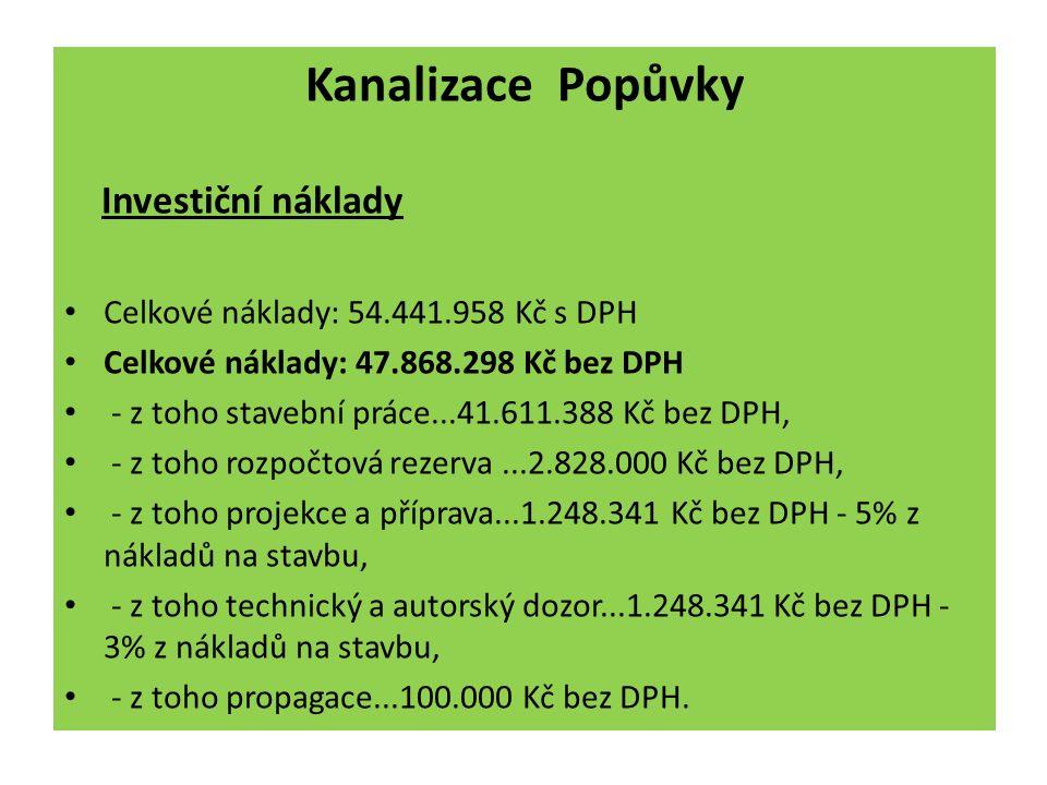 Valná hromada Svazku vodovodů a kanalizací Ivančice 4.12.2012 Kanalizace Popůvky Investiční náklady Celkové náklady: 54.441.958 Kč s DPH Celkové nákla