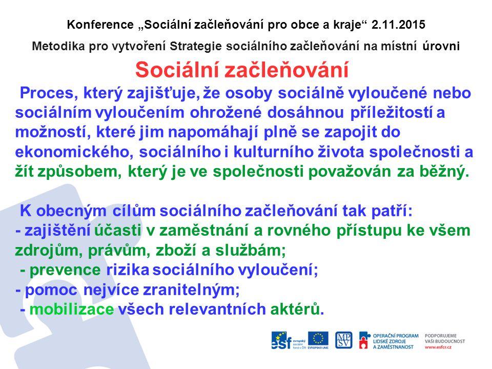 """Konference """"Sociální začleňování pro obce a kraje"""" 2.11.2015 Metodika pro vytvoření Strategie sociálního začleňování na místní úrovni Sociální začleňo"""