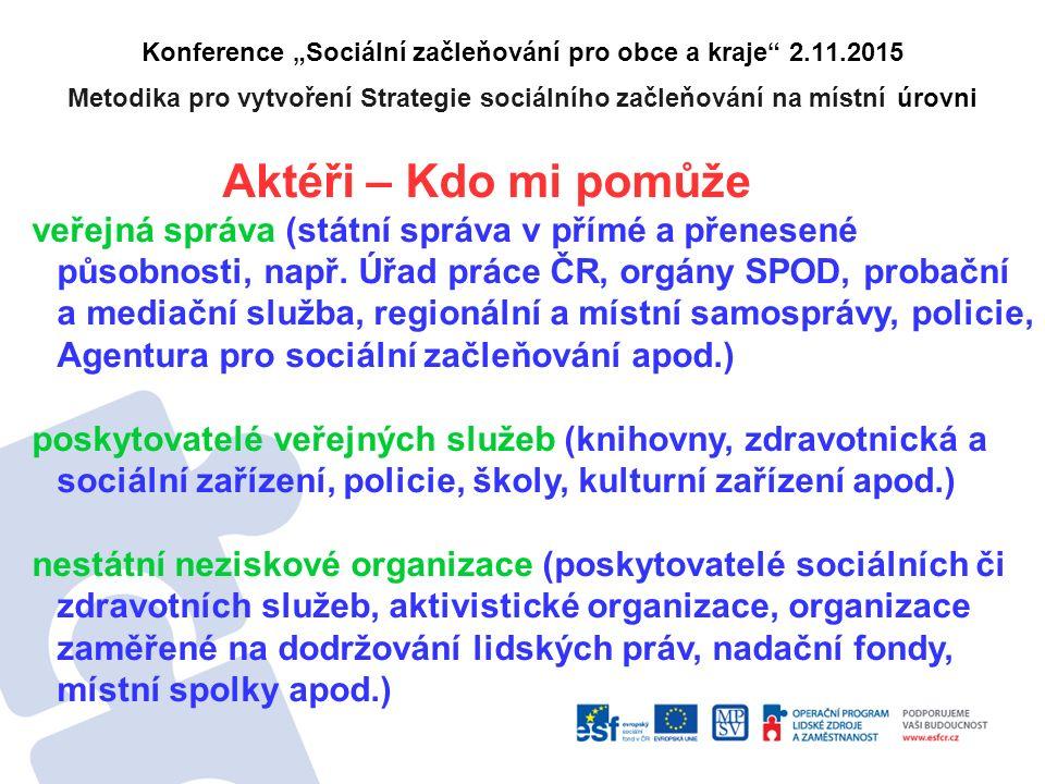 """Konference """"Sociální začleňování pro obce a kraje 2.11.2015 Metodika pro vytvoření Strategie sociálního začleňování na místní úrovni Aktéři – Kdo mi pomůže veřejná správa (státní správa v přímé a přenesené působnosti, např."""