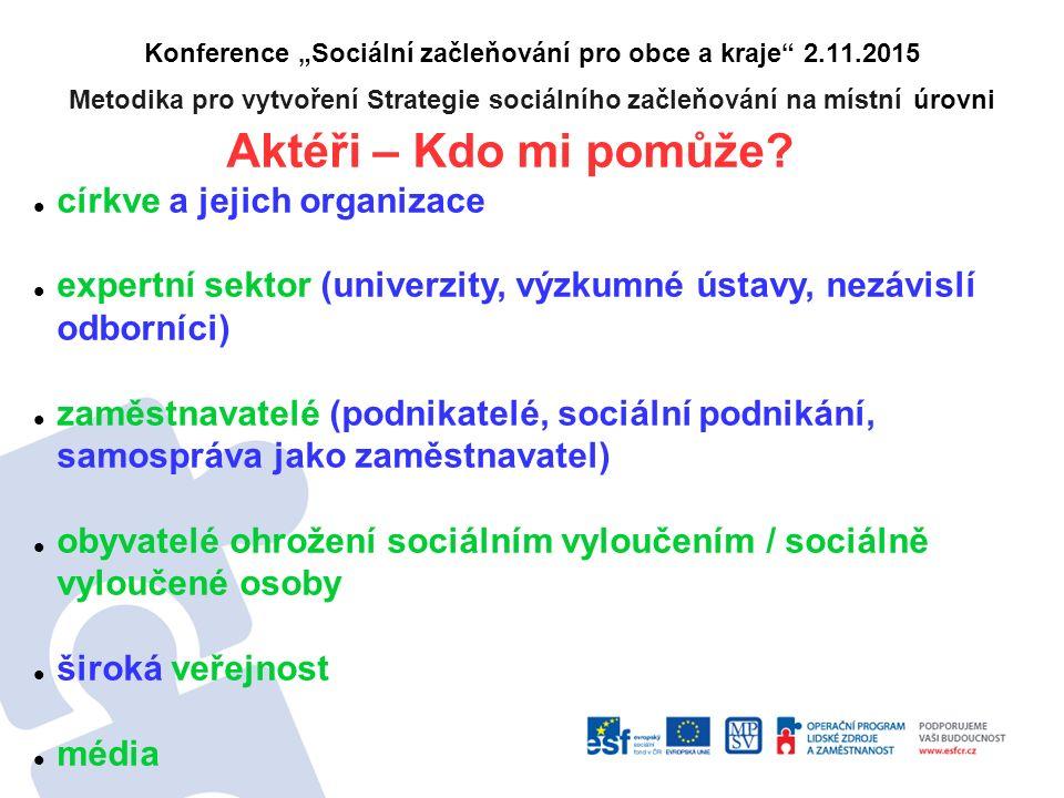 """Konference """"Sociální začleňování pro obce a kraje"""" 2.11.2015 Metodika pro vytvoření Strategie sociálního začleňování na místní úrovni Aktéři – Kdo mi"""