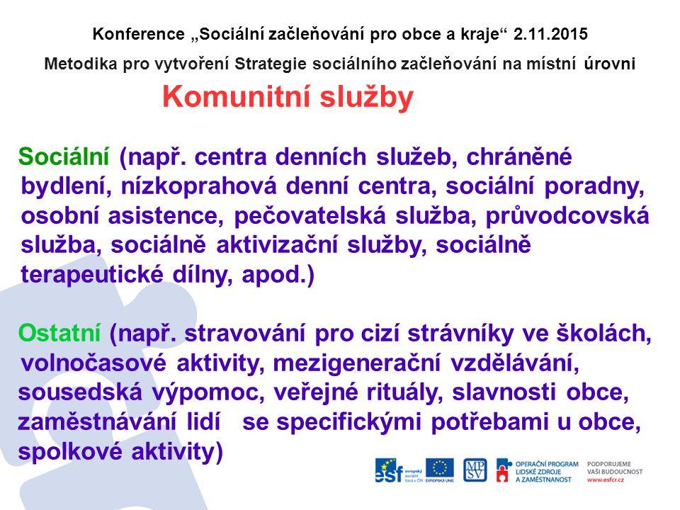 """Konference """"Sociální začleňování pro obce a kraje 2.11.2015 Metodika pro vytvoření Strategie sociálního začleňování na místní úrovni Komunitní služby Sociální (např."""
