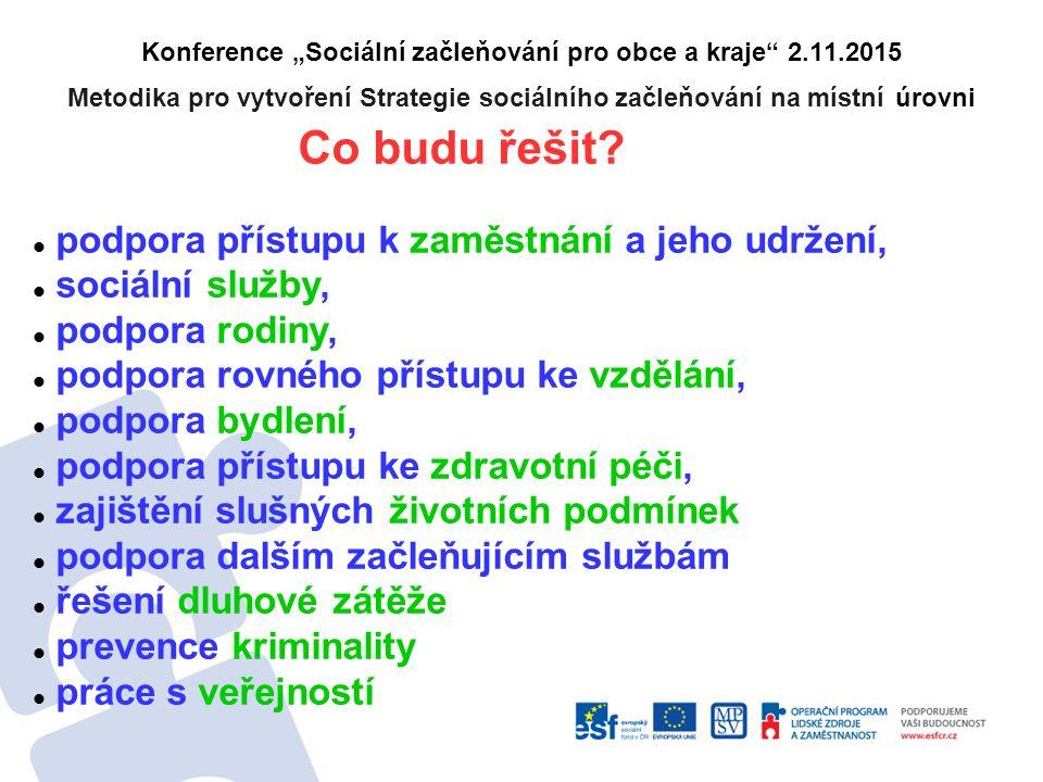 """Konference """"Sociální začleňování pro obce a kraje"""" 2.11.2015 Metodika pro vytvoření Strategie sociálního začleňování na místní úrovni Co budu řešit? p"""