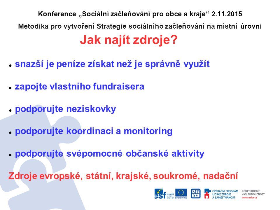 """Konference """"Sociální začleňování pro obce a kraje 2.11.2015 Metodika pro vytvoření Strategie sociálního začleňování na místní úrovni Jak najít zdroje."""