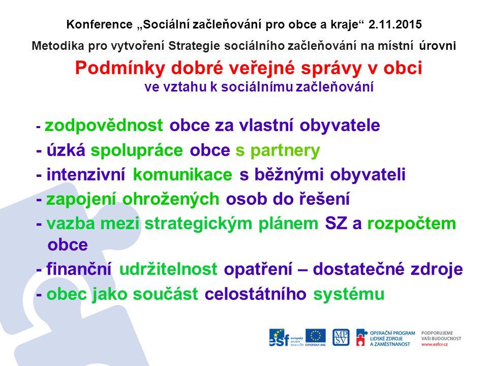"""Konference """"Sociální začleňování pro obce a kraje"""" 2.11.2015 Metodika pro vytvoření Strategie sociálního začleňování na místní úrovni Podmínky dobré v"""