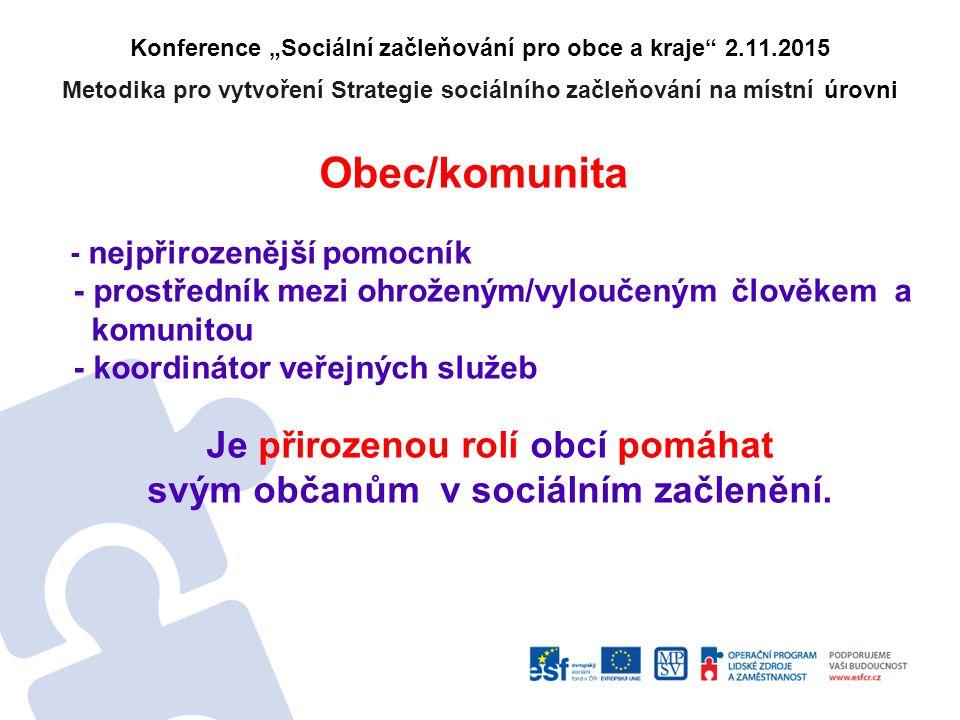 """Konference """"Sociální začleňování pro obce a kraje 2.11.2015 Metodika pro vytvoření Strategie sociálního začleňování na místní úrovni Začleňovat nebo nezačleňovat???."""