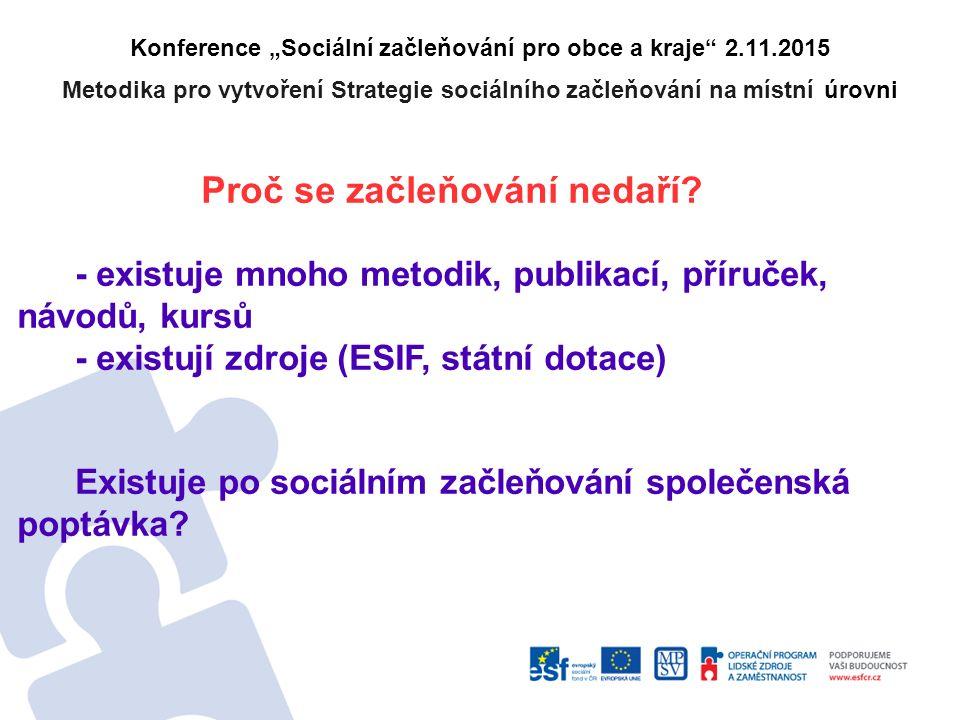 """Konference """"Sociální začleňování pro obce a kraje 2.11.2015 Metodika pro vytvoření Strategie sociálního začleňování na místní úrovni Proč se začleňování nedaří."""