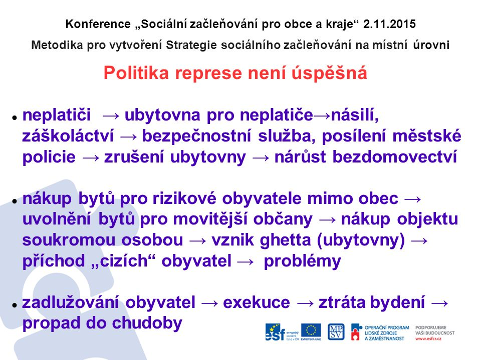 """Konference """"Sociální začleňování pro obce a kraje"""" 2.11.2015 Metodika pro vytvoření Strategie sociálního začleňování na místní úrovni Politika represe"""