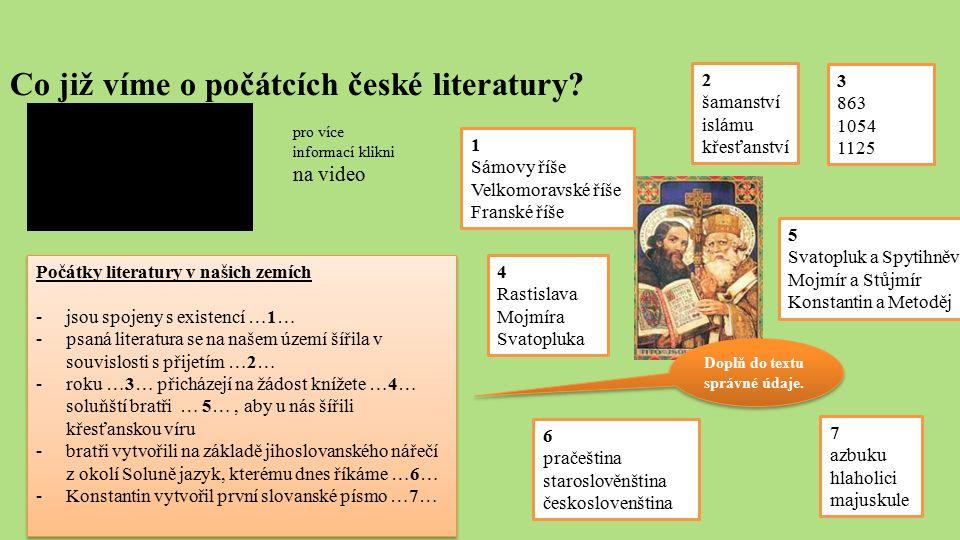 Co již víme o počátcích české literatury? Počátky literatury v našich zemích -jsou spojeny s existencí …1… -psaná literatura se na našem území šířila