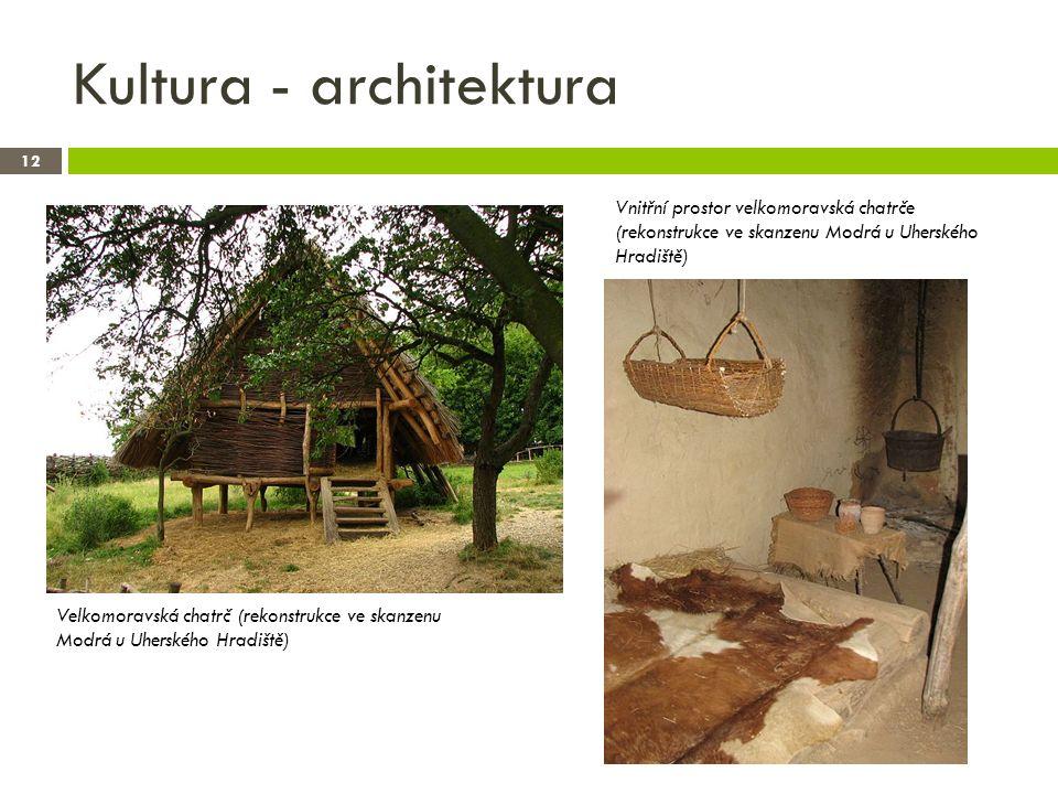 Kultura - architektura 12 Velkomoravská chatrč (rekonstrukce ve skanzenu Modrá u Uherského Hradiště) Vnitřní prostor velkomoravská chatrče (rekonstrukce ve skanzenu Modrá u Uherského Hradiště)