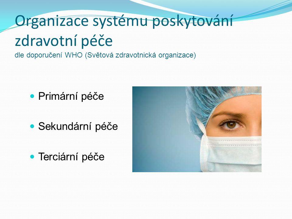 Organizace systému poskytování zdravotní péče dle doporučení WHO (Světová zdravotnická organizace) Primární péče Sekundární péče Terciární péče